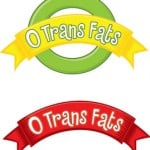 graphic showing 0 trans fats in red and green