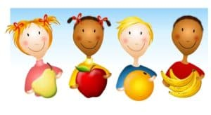 cartoon drawing of girls and boys holding fruit