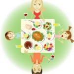 cartoon picture of family around the dinner table