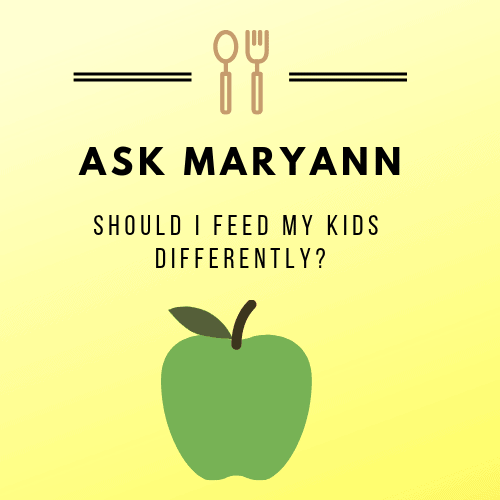 graphic with yellow background and green apple with the text: should I feed my kids differently?