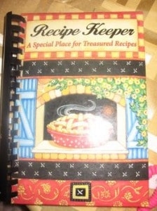a binded recipe book to keep recipes in