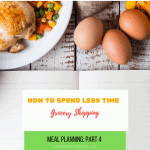 a variety of food on a table with the post title: how to spend less time grocery shopping