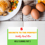 a variety of food on a table with the post title: secrets to the perfect meal plan