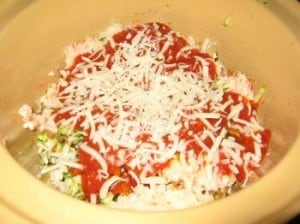 final layering of lasagna with the remaining marinara sauce, mozzerella sprinkled on top in slow cooker