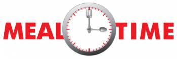 Graphic that says mealtime with clock showing