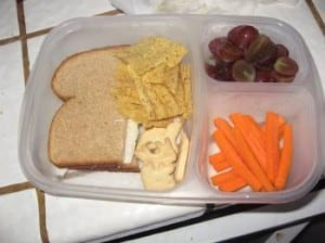half a sandwich, chips, carrots and grapes in an easy lunch box container
