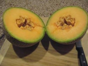 cup open cantaloupe ripe, fragrant and flavorful