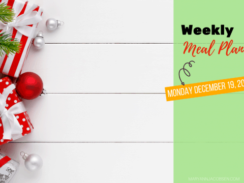 Weekly Meal Plan: Monday December 19th