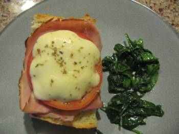 Ham and Mozzarella Melts with Sauteed Spinach [Recipe]