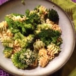 Pasta primavera in a bowl on the kitchen table