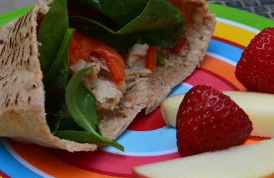 Chicken, Roasted Peppers and Hummus Pita [Recipe]