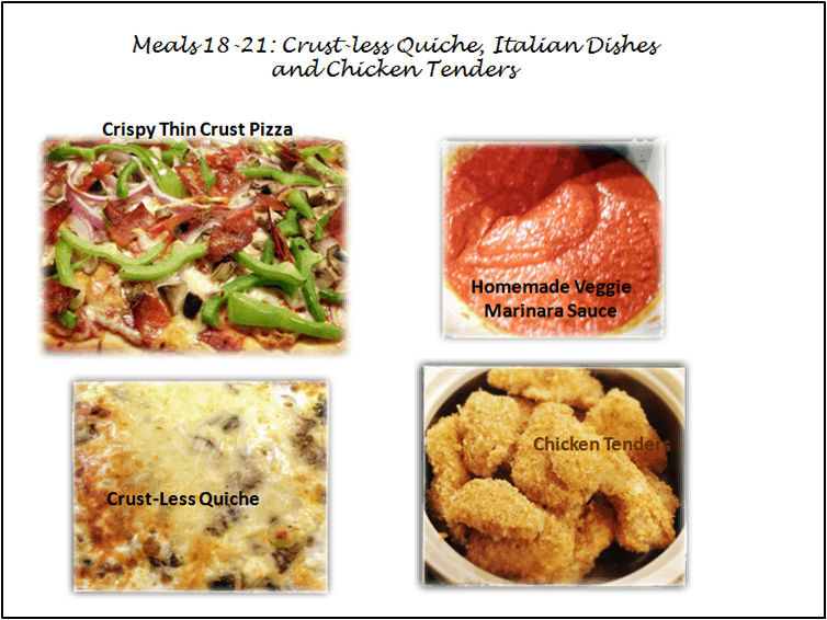 Post image for 30 Meal Challenge (Meals 18-21): Crust-Less Quiche, Italian Dishes & Chicken Tenders