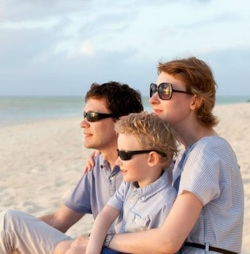family of three with sunglasses on the beach