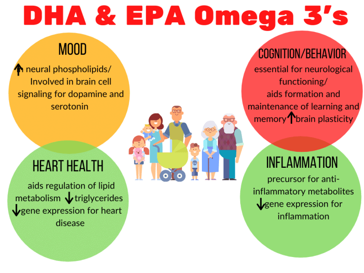 Four colored circles summarizing the health benefits of DHA and EPA