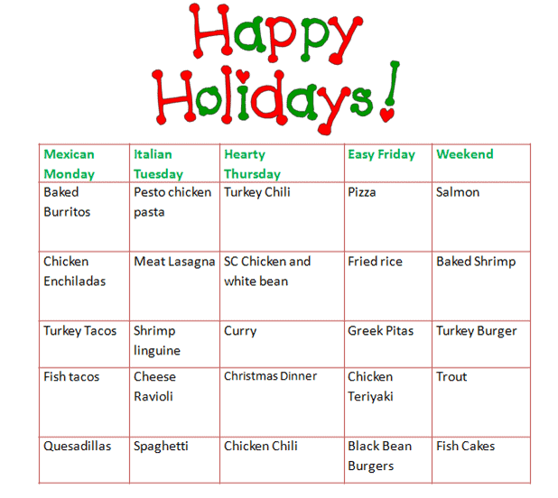 Dinner Rotation: December – January