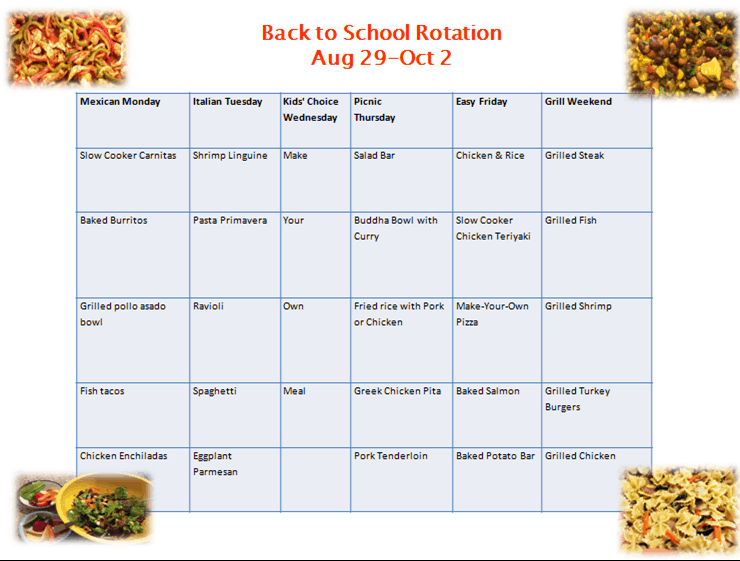 Back to School Dinner Rotation 2016
