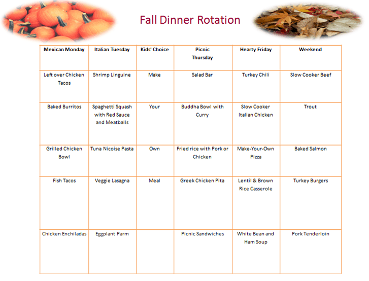 Post image for Fall Dinner Rotation