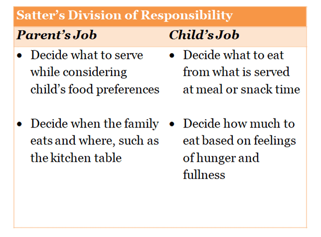 Chart that describes Satter's Division of Responsibility