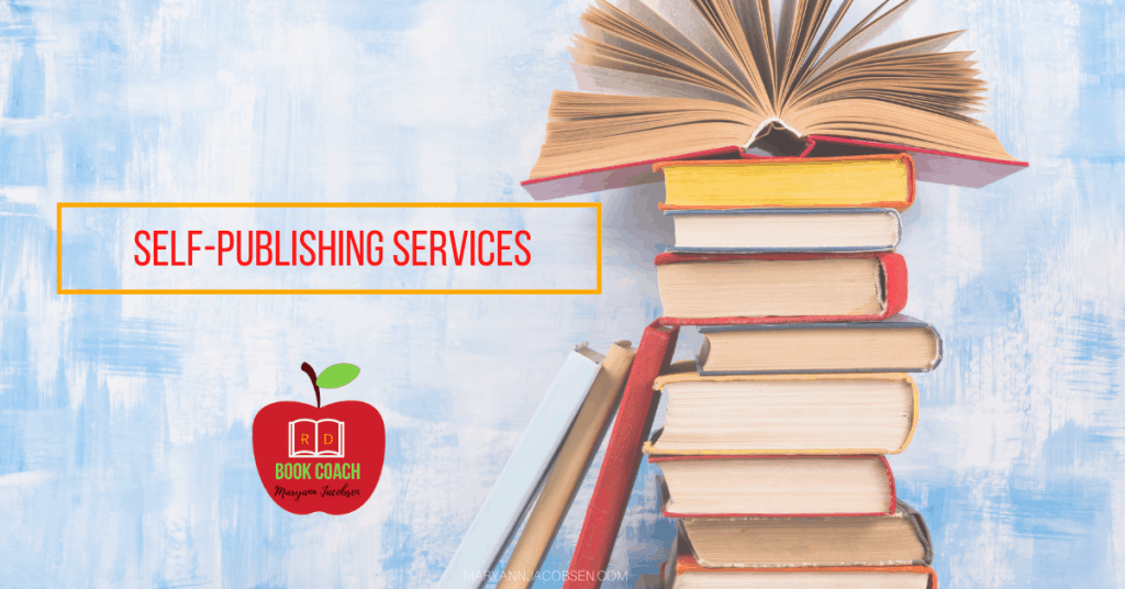 picture of books with text self publishing services