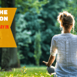 women meditating outside
