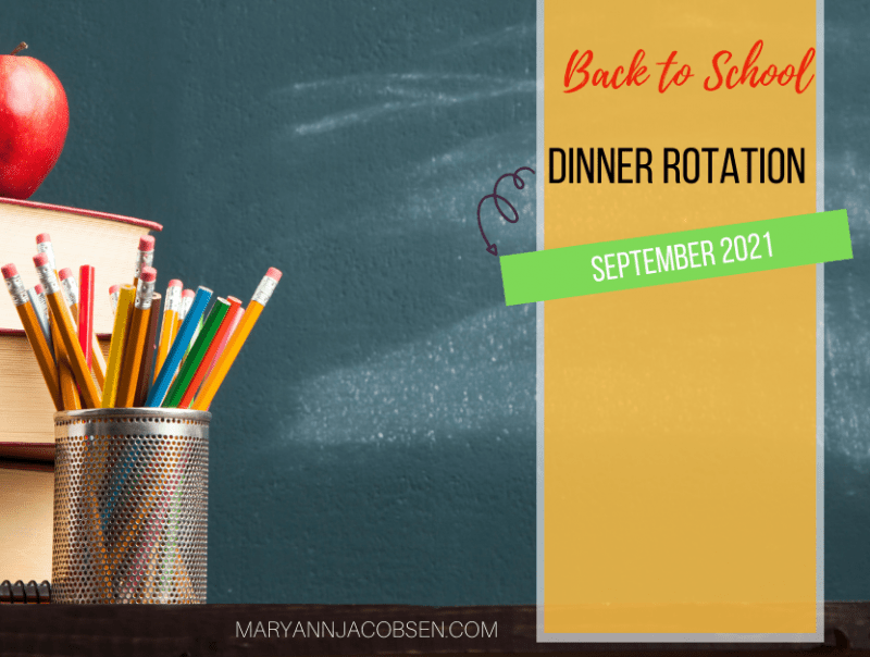 books with an apple on top and pencils for back to school dinner rotation.