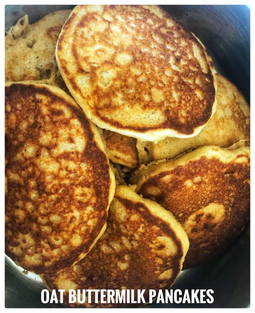 golden pancakes in a serving bowl